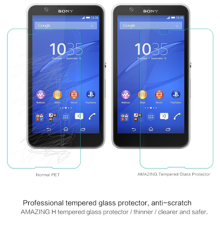 Nillkin glass screen protector for Sony Xperia E4 (index H)