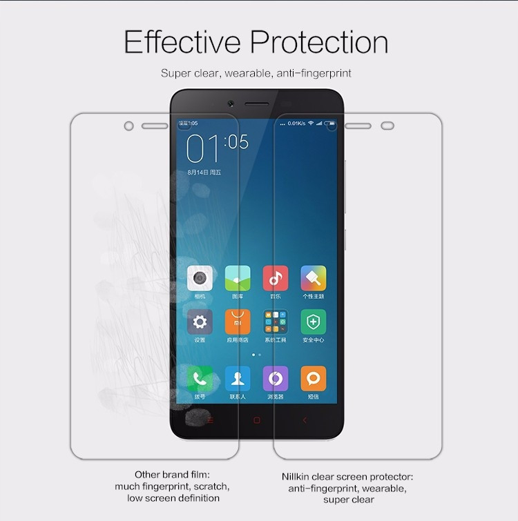 "Nillkin anti-fingerprint protective film for Xiaomi Hongmi Note 2, Redmi Note 2, Note2 (5.5"")"