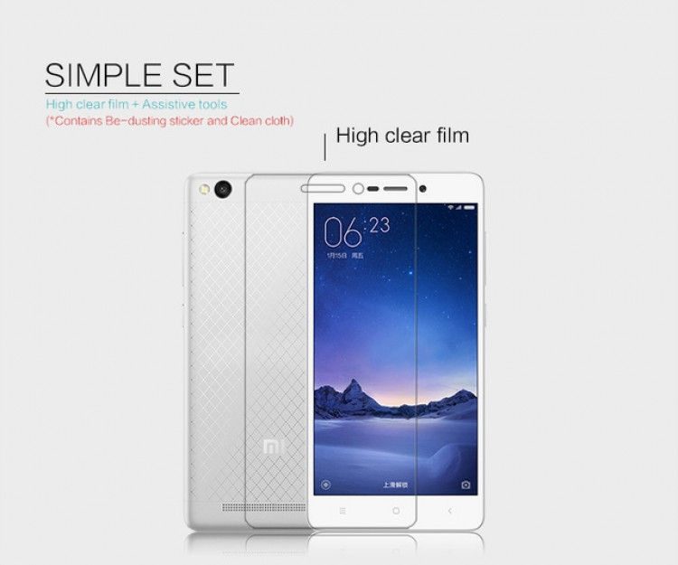 "Nillkin anti-fingerprint protective film for Xiaomi Redmi 3, redmi 3 pro, redmi 3s, Red Rice 3, hongmi 3 (5.0"")"