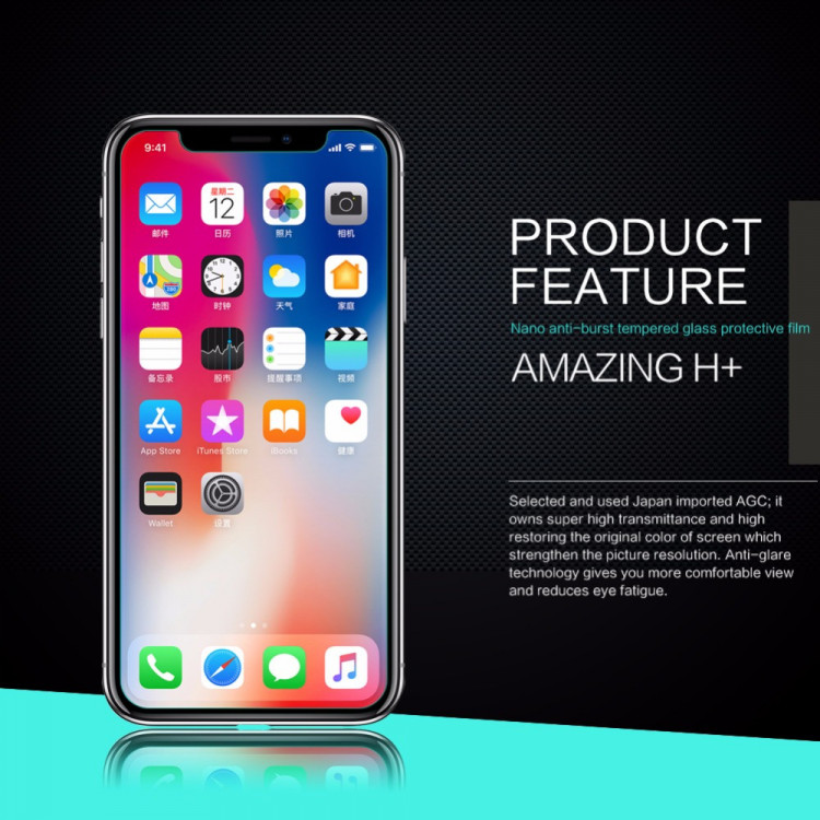 Nillkin glass screen protector for Apple iPhone X (5.8) (index H+)